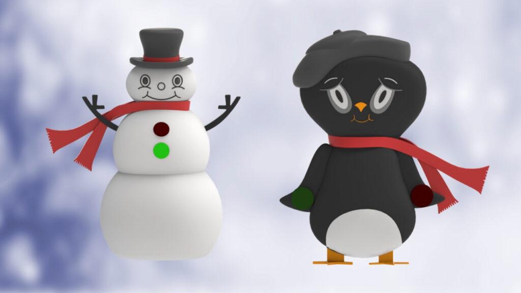 Snowman and Penguin Temperature Indicators